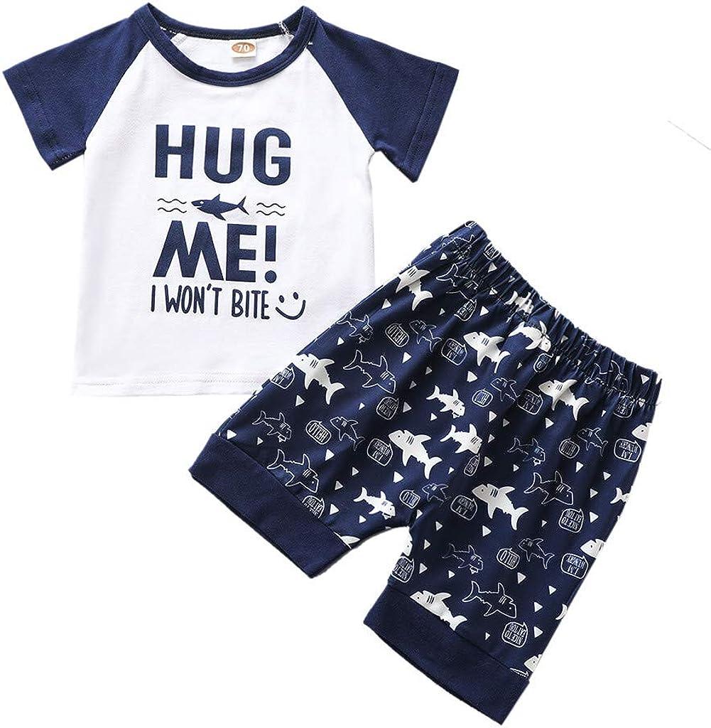0-24 Months Newborn Boys Short Sleeve T-Shirt+Shorts Sets Toddler Kids Letter Print Tops Shark Pattern Pants Summer Outfits