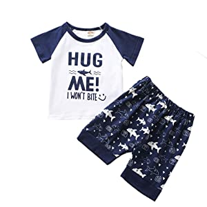 for 12-18 Months Boys Outfits Set, Newborn Infant Baby Boys Letter Tops Sharks Shorts Outfits Summer Clothes