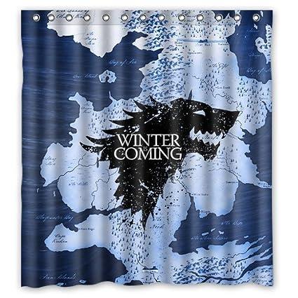 Amazon.com: Game of Thrones Winter Coming Map Custom Shower Curtain ...
