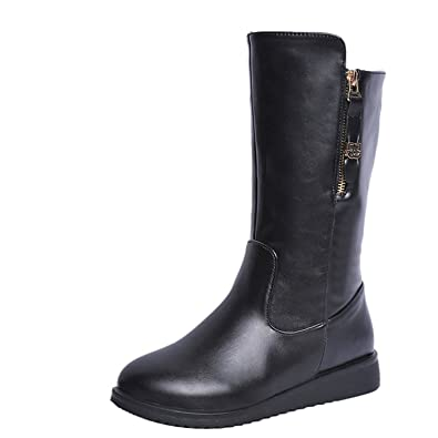 6f2d05ff985 Gaorui Winter Womens Flat mid-Calf Leather Boots Fashion Zipper Comfort  Riding Booties Black