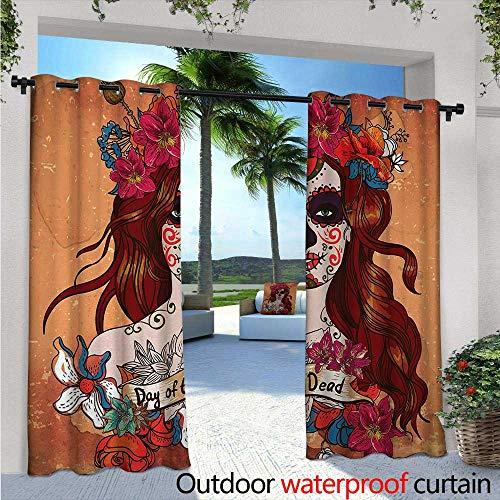 BlountDecor Day of The Dead Indoor/Outdoor Single Panel Print Window Curtain W96 x L96 Dia de Los Muertos Spanish Culture Mexican Festive Skull Art Silver Grommet Top Drape Cinnamon Magenta Maroon ()