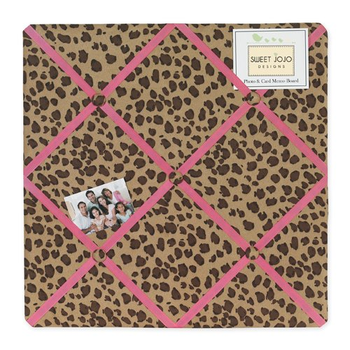 Sweet Jojo Designs Cheetah Girl Pink and Brown Fabric Memory/Memo Photo Bulletin -
