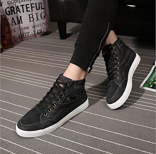 Gaorui Moda Hombres Denim High Top Zapatos Casual Board Lace Up Atlético Caminar Sneakers Verde
