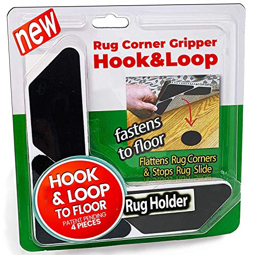 iPrimio Hook & Loop 4 Pack Rug Corners Gripper V Shape - Easy Lift and Press Down - Stops Rug Slip Anti Curling Grip and Non Skid Non Slip on All Floors