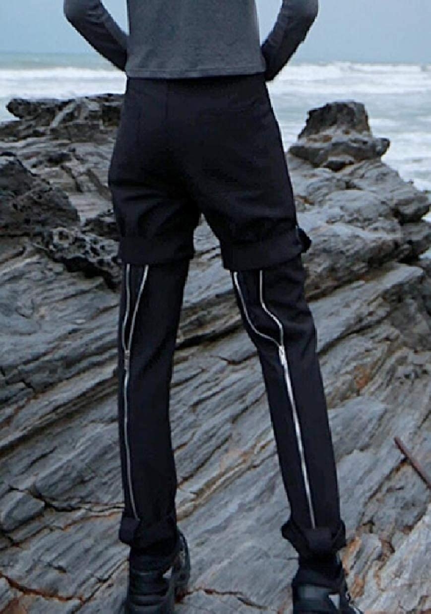 ZXFHZS Mens Punk Style Solid Slim Fit Pant with Bottom Zippers