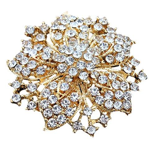 Weixinbuy Crystal Bouquet Rhinestone Flower Brooch Pins Wedding Bridal - Gold Flower Pin Brooch