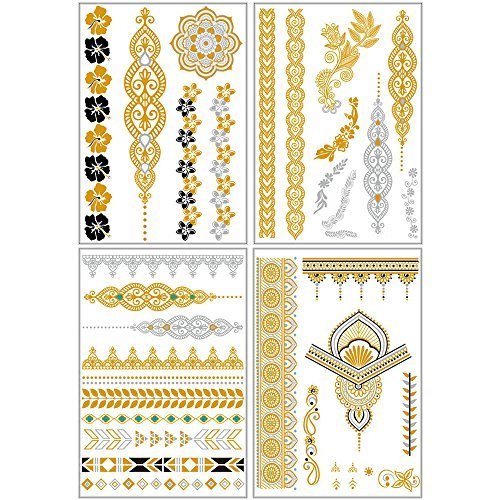 (Flash Metallic Temporary Tattoos For Women, Girls- Playmax 8 Sheets Waterproof Hobo Fake Body Art Gold Silver Tattoo Stickers Long Lasting - Jewelry, Bracelet, Henna, Mandala, Mehndi Designs)