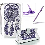 Strap Pu Leather Case for Samsung Galaxy J3 Prime,Wallet Flip Cover for Samsung Galaxy J3 2017,Herzzer Classic Elegant Book Style [White Purple Wind Chime] Embossed Slim Fit Stand Leather Folio Pouch Protective Mobile Cellphone Case for Samsung Galaxy J3 Prime/J3 2017