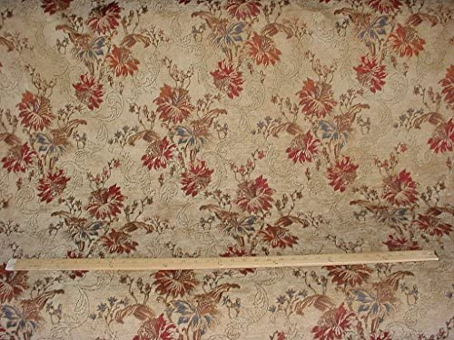 New Quality Printed Floral Pattern Chenille Red Furnishing Upholstery Fabric