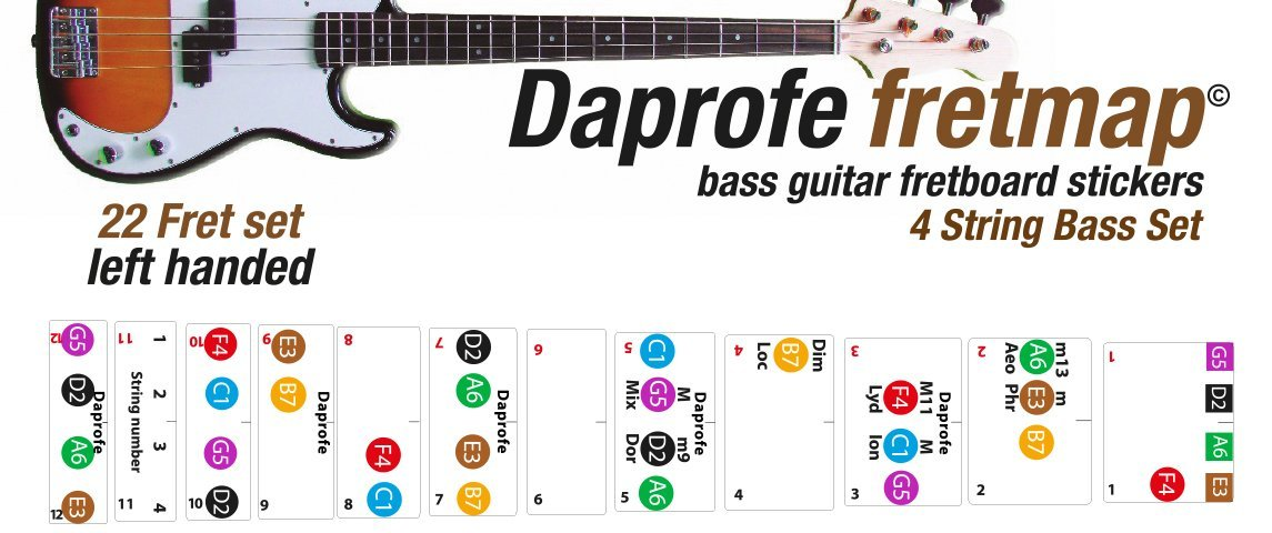 Amazon Daprofe Left Handed Bass Guitar Fretboard Note Map