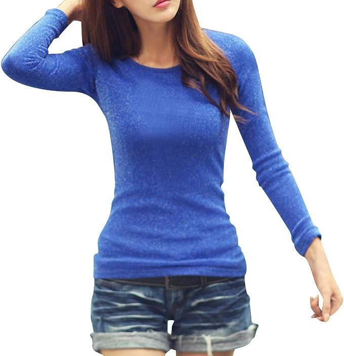 Nouvelle Chemise à manches longues col rond uni BASIC Femmes Stretch T Shirt Top 8 To 14