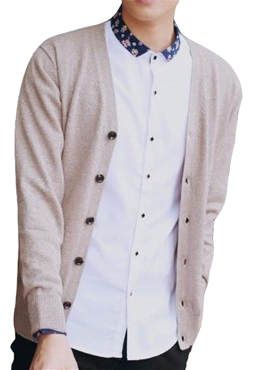 GAGA Mens Color Block V-Neck Front Button Knitwear Cardigan Sweater