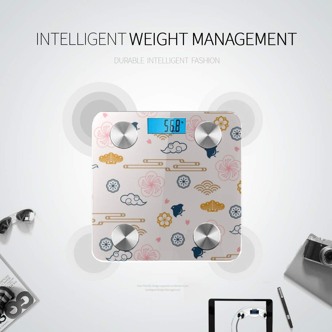 Bluetooth Body Fat Scale Pattern Japanese Family Crests Symbol Smart Wireless Scale with LCD Display Measuring Body Weight Bmi and Health Digital S
