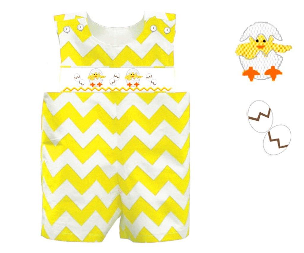 Dana Kids Easter Yellow Chevron Baby Chick Smocked Shortall Boys 3T