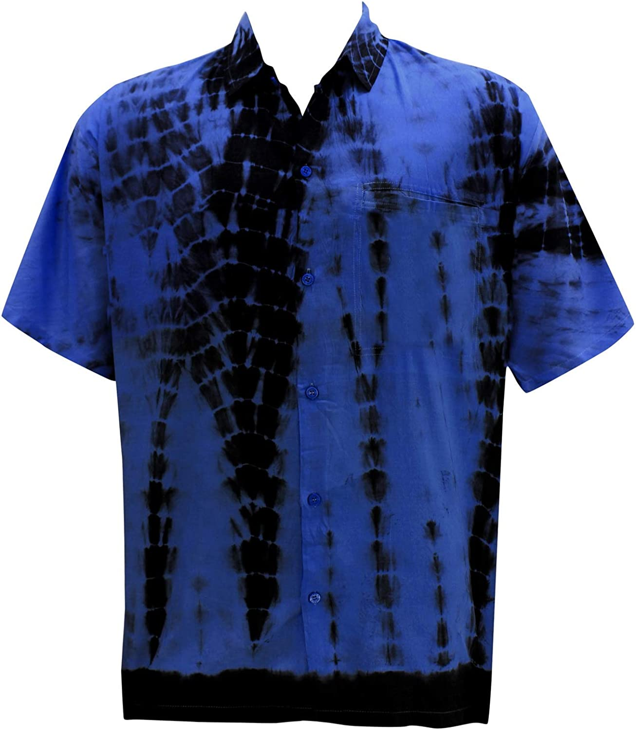 LA LEELA Mens Relaxed Funny Hawaiian Shirt Beach Button Down Up Hand Tie Dye