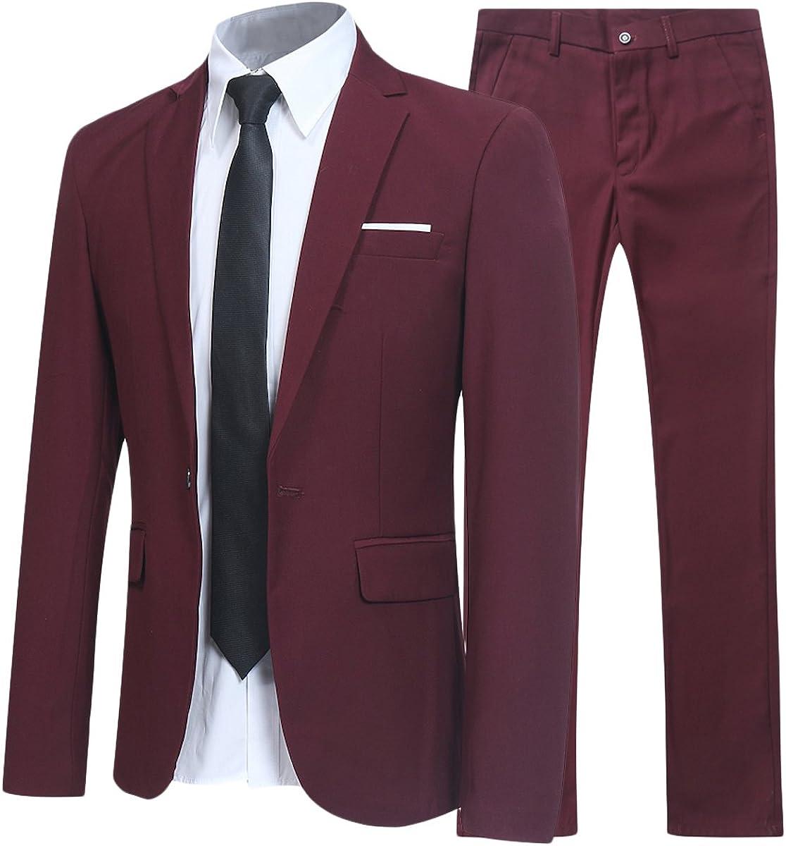 Allthemen Abiti da Uomo 2 Pezzi Suit Slim Fit Wedding Dinner Tuxedo Abiti per Uomo Business Casual Giacca e Pantaloni 10 Colori Disponibili