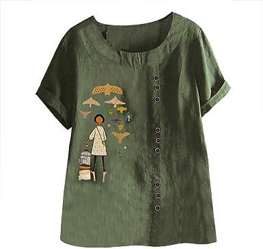Camiseta de Mujer, Verano Moda Impresión Manga Corta Algodón ...