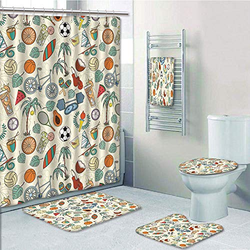 (Bathroom 5 Piece Set shower curtain 3d print Customized,Sport,Sports Themed Abstract Cartoon Style Icons Bike Balls Olympic Flame Weight Gloves,Multicolor,Bath Mat,Bathroom Carpet Rug,Non-Slip,Bath To)