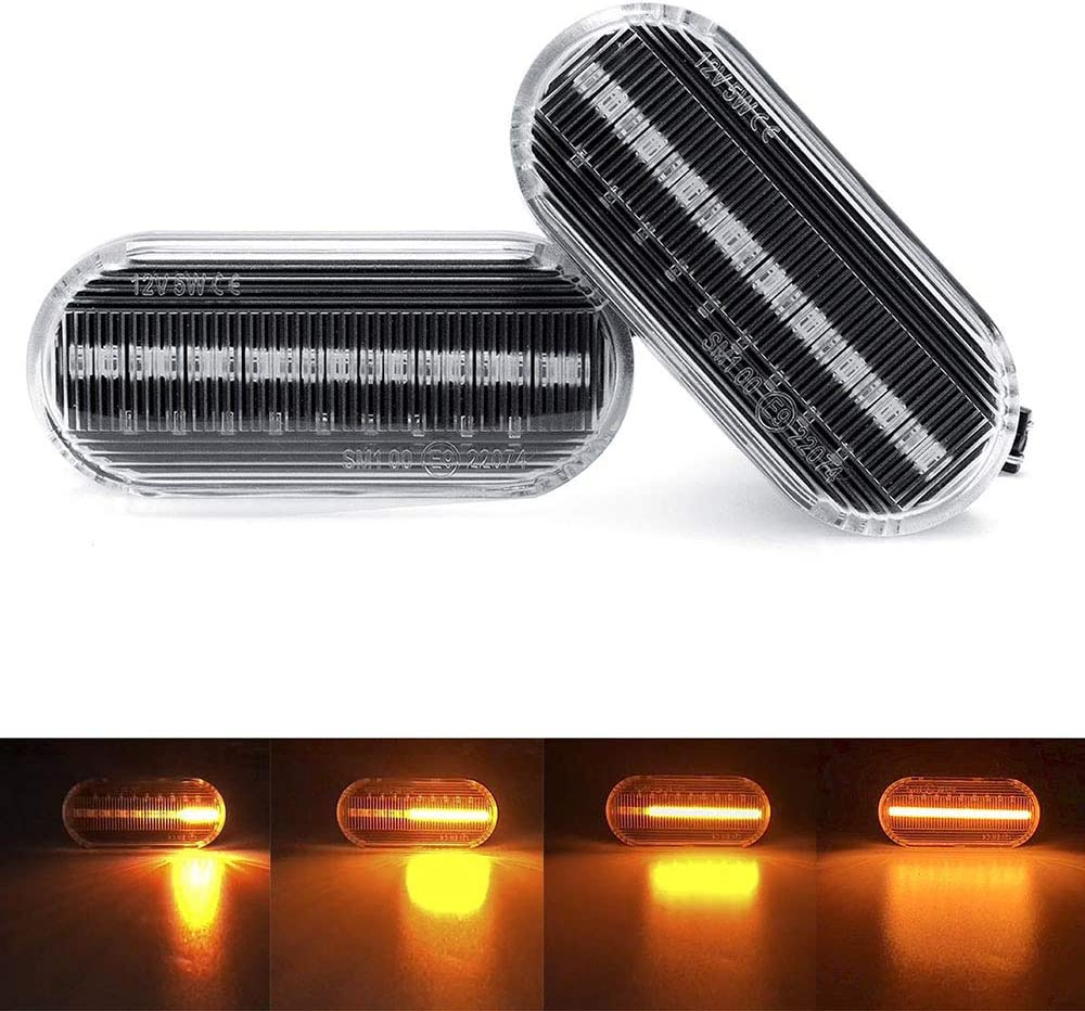 LED Dynamic Flowing Indicator Lamp Bulbs Replacement for S-EAT panthem 2 Pack Side Marker Turn Signal Light F-ord S-koda