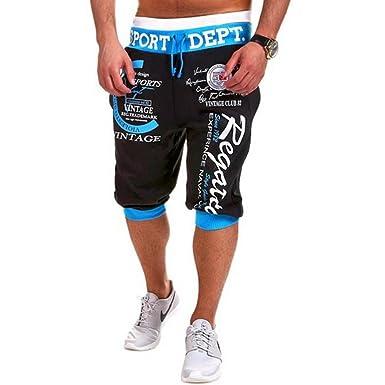 eda8f591857c Highdas Kurze Sporthose Herren - Mode Einfarbig Elastische Taille Hose mit  Taschen Beiläufig Sommer Shorts Sweatpants
