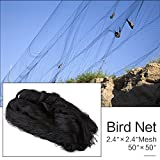 """50' X 50' Net Netting for Bird Poultry Aviary Game Pens New 2.4"""" Square Mesh Size, Garden Netting Protects Fruit Trees & Vegetables from Hungry Birds & Chickens (50'*50' with 2.4'*2.4' mesh)"""