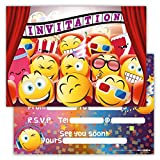 Funny Birthday Invitations Pack of 12 for Boys Girls Kids Movie Cinema Party with Smiley Emoji Postcard Cards Set