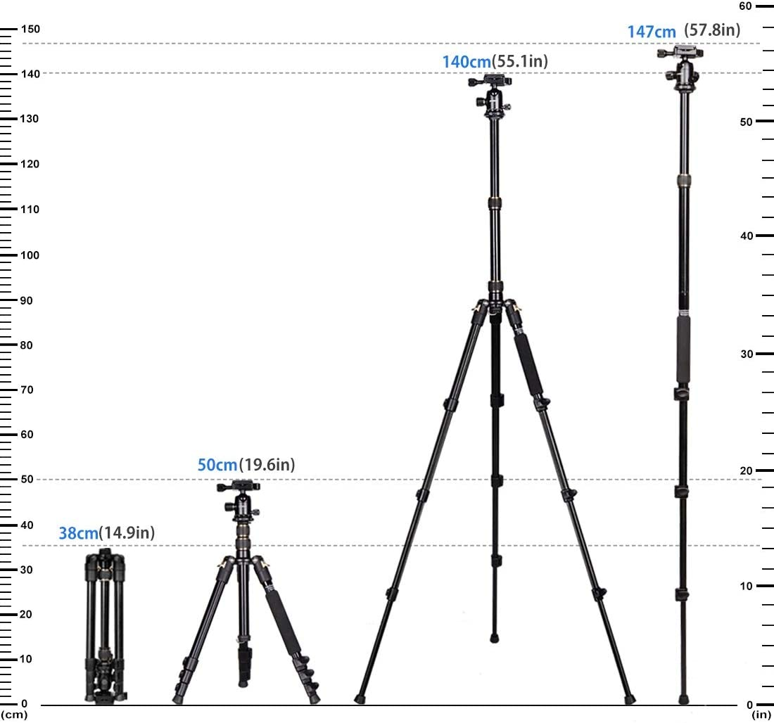 Camera Tripod 55 Inches,GWNNSH Lightweight Aluminum Compact Tripod for DSLR SLR Canon Nikon Sony Cameras with 360/° Panorama Ball Head,1//4 Quick Release Plate and Bag