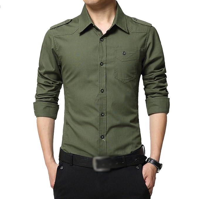 ZKOO Camisa de Formal para Hombre Manga Larga Slim Botón Camisas Blusa Tops