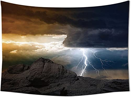 asddcdfdd Lake House Decor Tapestry Wall Hanging Bright Lightning Rays from Dark Clouds Hitting Down to The Mountain Storm Theme Bedroom Living Room Dorm Decor Grey Orange