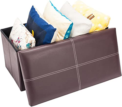 Swvzwy Leather Storage Bench Leather Storage Bench Practical PVC Leather Rectangle Shape Surface