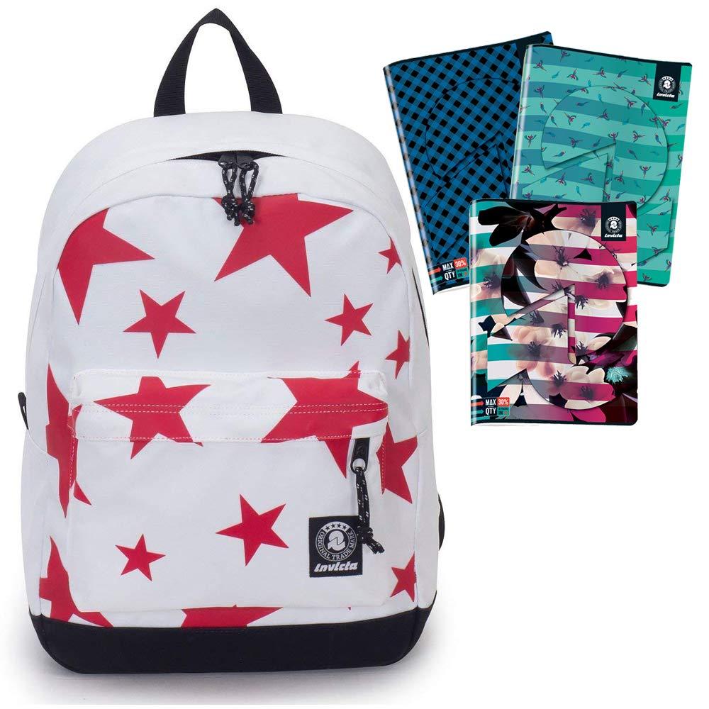 Mochila Carlson Stars Blanco Estrellas Rojas Invicta 206001873 Bolsillo Bolsillo 206001873 para Ordenador – Americano 27 L + 4 Maxi Cuadernos Invicta (2 Cuadros 5 mm + 2 líneas) diseños aleatorios c9df2e