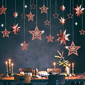 Decor365 Glitter Rose Gold Star Garland Twinkle Little Star Party Decoration 3D Star Cutout Hanging Bunting Banner for Birthday/Baby Shower/Wedding/Christmas/Engagement/Graduation/New Year/Home Decor