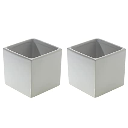 Amazon Glossy White Square Vase Set Of 2 325 X 325 Inches