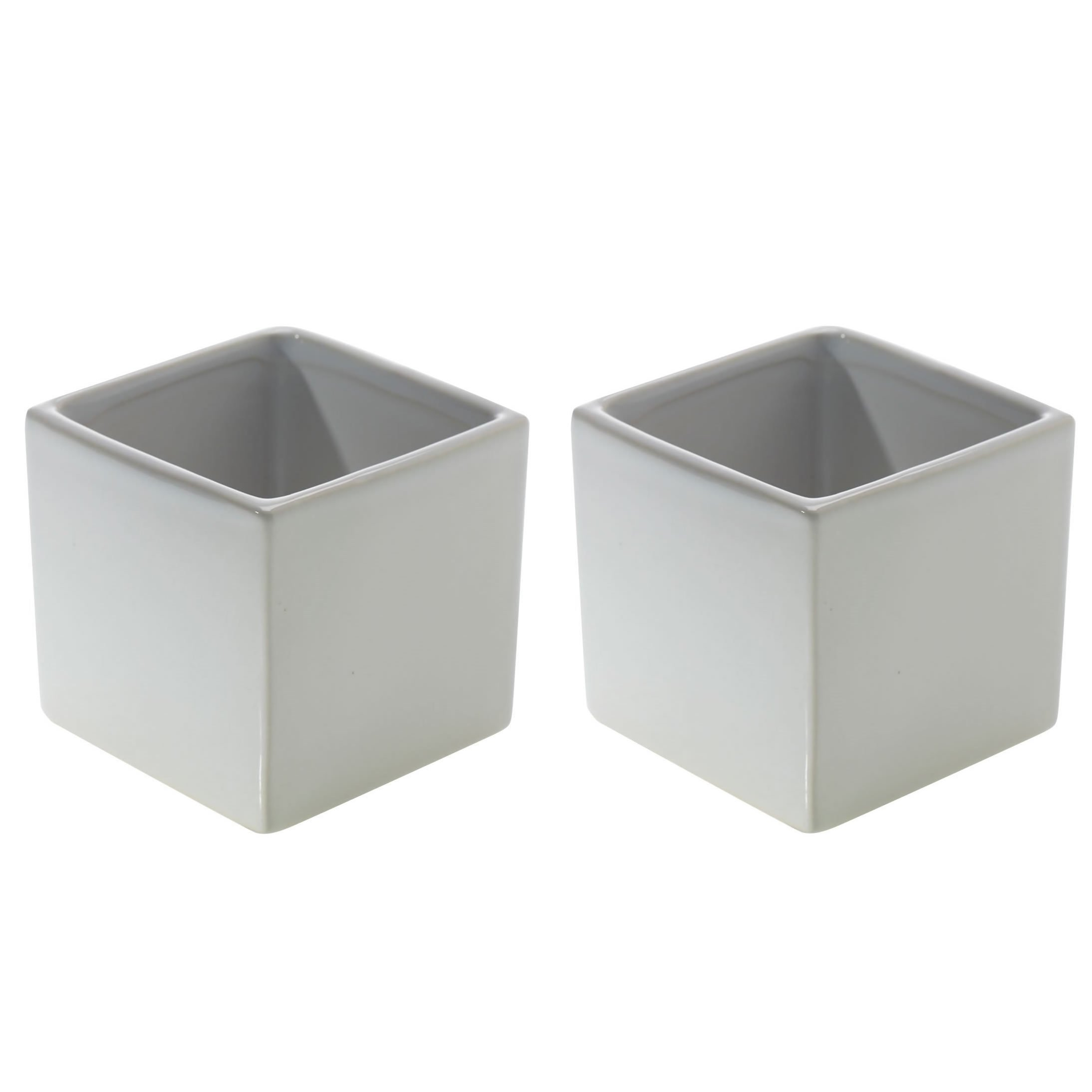 Glossy White Square Vase - Set of 2 - 3.25 x 3.25 Inches - Ceramic Urban Decor Pot - Small Modern Cube Planter for Office or Home