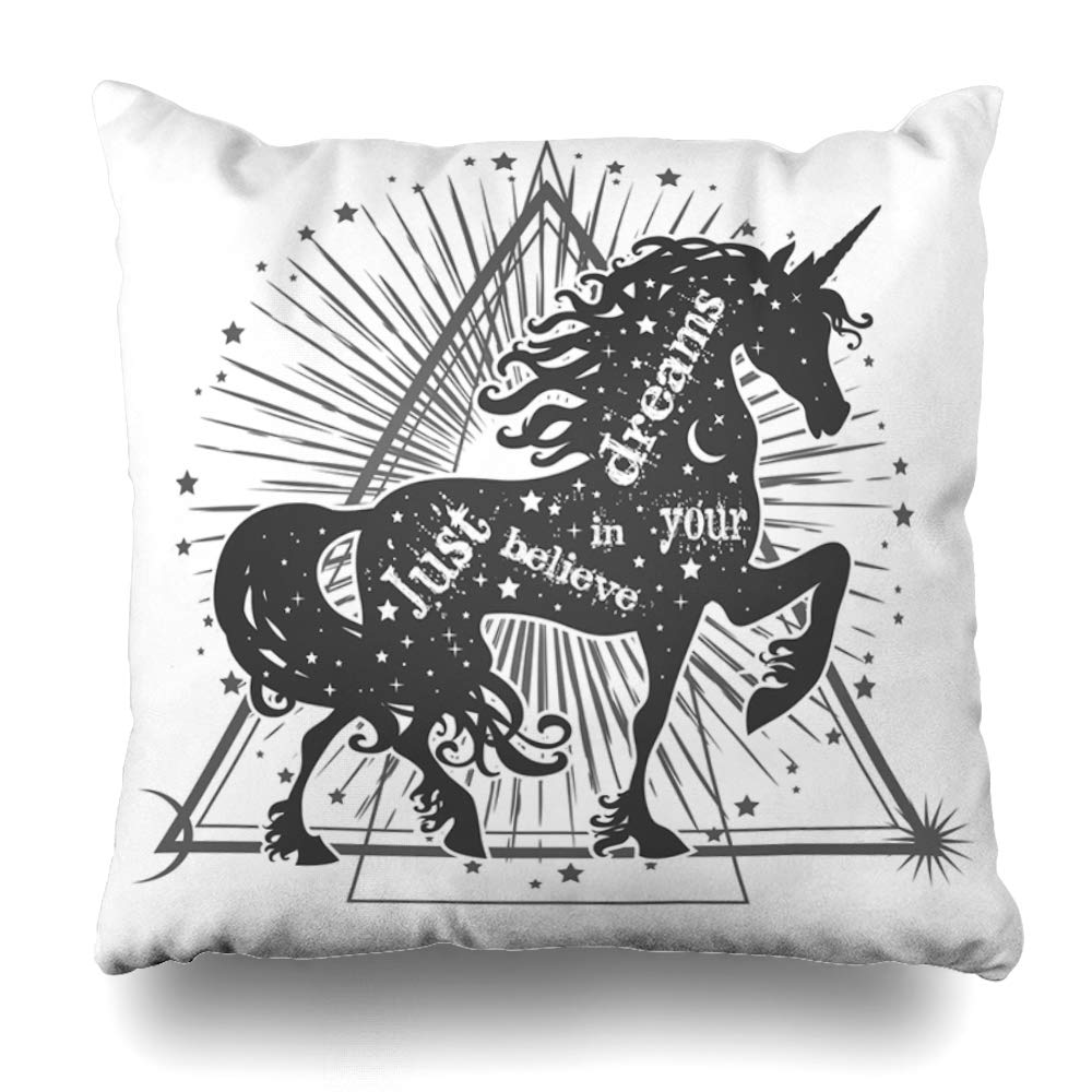 ONELZ Just Believe in Your Dreams Magic Unicorn Silhouette with Inspirational Quote Decorative Throw Pillowcase Two Sides Printed, Fashion Style Zippered Cushion Pillow Cover (18 x 18 inch)