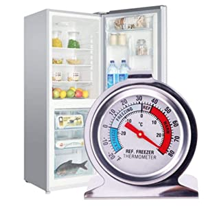JSDOIN Freezer Refrigerator Refrigerator Thermometers Large Dial Thermometer 2 Pack (Color: Freezer-Refrigerator 2PACK)