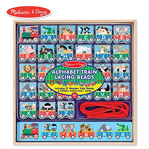 Melissa & Doug Alphabet Train Lacing Beads - 27 Wooden Train Beads, 6 Pattern Cards, and 1 -