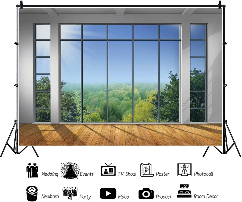 YEELE Scenic View from Window Backdrop 9x6ft Modern Home Interior Photography Background Home and House Design Kids Adults Artistic Portrait Photoshoot Props Digital Wallpaper