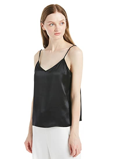 992c66b779 LILYSILK Women s Silk Camisole Vest Lingerie Ladies Tank Top 22 Momme  Charmeuse Silk Black Size XS