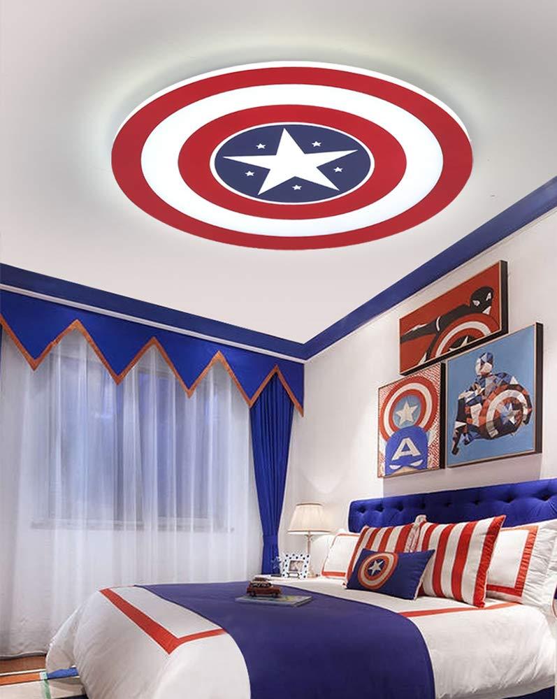 Captain America Deckenleuchte LED Creative Deckenleuchte Wandlampe Dimmbar mit Fernbedienung Metall Acryl Lampenschirm Kinderzimmer Schlafzimmer Kindergarten dekorative Beleuchtung,12W/Ø23CM