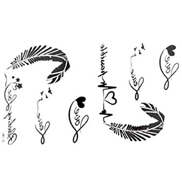 d4e2b63fb Amazon.com : GGSELL The New release tattoo stickers waterproof female black  and white letters of the alphabet ECG feather fake tattoos : Body Paint  Makeup : ...