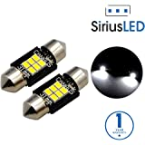 "SiriusLED Extremely Bright 400 Lumens 3020 Chipset Canbus Error Free LED Bulbs for Interior Car Lights License Plate Dome Map Door Courtesy 1.25"" 31MM Festoon DE3175 6428 Xenon White"