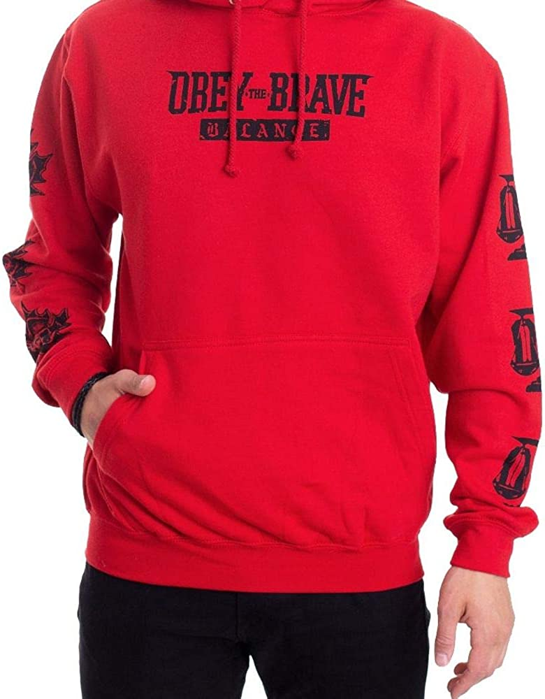 Hoodie Balanced Box Logo Red Obey The Brave