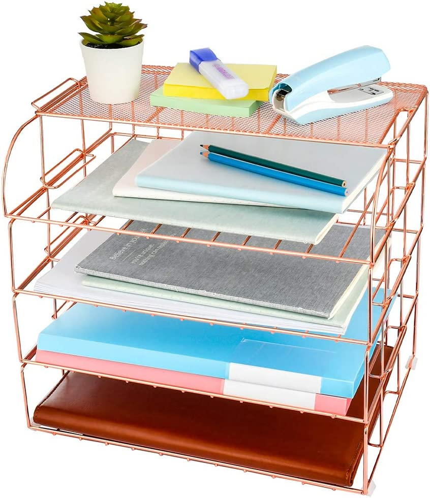 AUPSEN Rose Gold Letter Tray - 4 Tier Desk File Organizer for Women, Desk Organizers and Accessories with 1 Upper Shelf, Stackable Paper Tray Organizer for Home Office Supplies