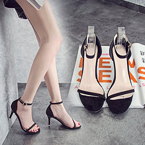SHOESHAOGE Correa Ranurada High-Heeled Fina Con Sandalias En Negro Satinado Y Rocío Ultra Alta Con Zapatos De Mujer ,Eu38 EU35