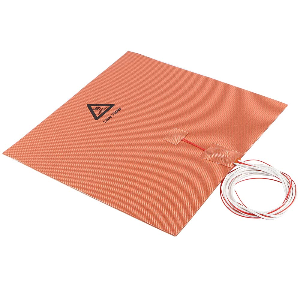 FYSETC 3D Printer Silicone Heated Pad 300x300mm//11.8 in Heating Plate Mat 120V 750W with 3M Adhesive for Lulzbot TAZ Monoprice Maker Printer Heated Bed