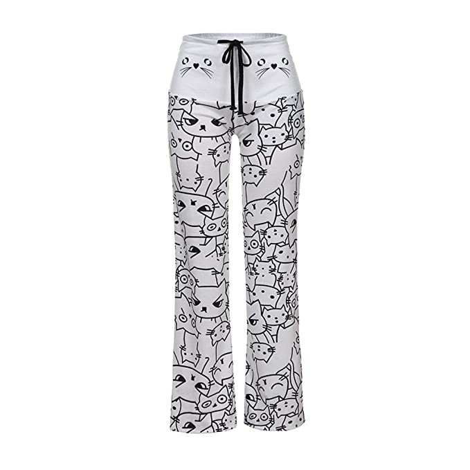 DOGZI Mujer Impresión de Gato Pantalones Anchos Pantalones de ...