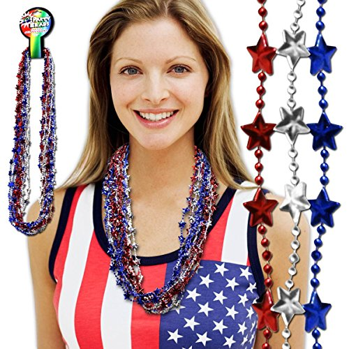 Red, White and Blue Star Bead Necklaces - 33