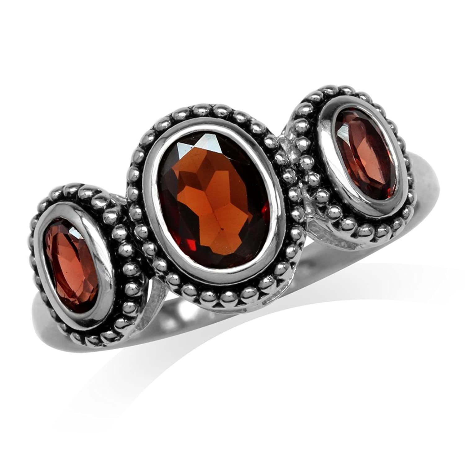 1.52ct. 3-Stone Natural Oval Shape Garnet 925 Sterling Silver Bali/Balinese Style Ring