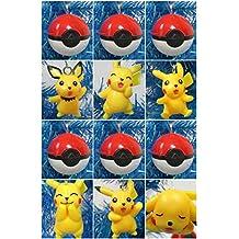 POKEMON 12 Piece Mini Christmas Ornament Set Featuring Pikachu and Poke Balls - Unique Shatterproof Plastic Design